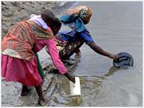 Women collecting dirty water